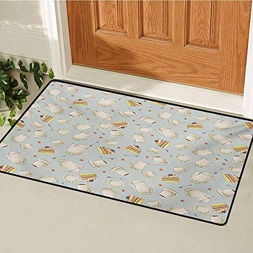 (Tea Party Commercial Grade Entrance mat Coffee Pot Teapot Spoons Plates and Creamy Slices of Cake with Cherries for entrances garages patios W47.2 x L60 Inch Bluegrey Red Green )