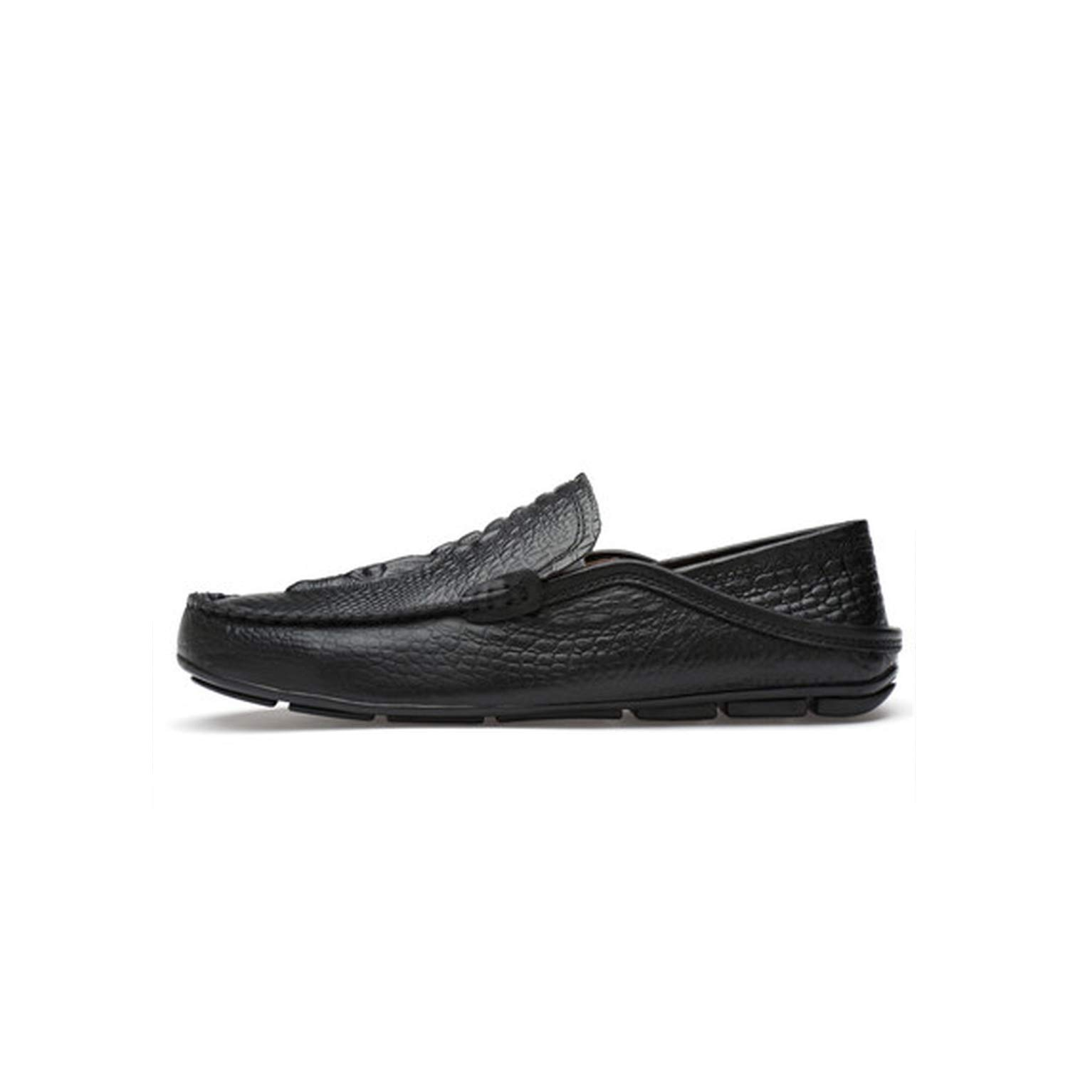 Black Crocodile Pattern Suede Leather Casual Beanie Driving shoes Men