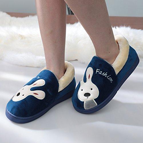 Y-Hui hembra zapatillas de algodón de invierno paquete con los amantes de la gran base en mobiliario de hogar cálido zapatos hombres zapatillas,28 (apto para 41-42 pies),azul