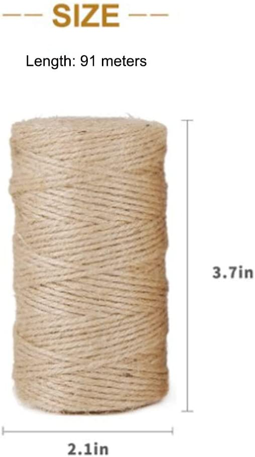 Hilo de Yute de 2 mm 91 Metros Cuerda de Regalo de Hilo Materiales de Embalaje Industrial Artesan/ía Artesanal Vintage DIY Decoraci/ón Bohemia NOBRAND 3 Piezas de Cuerda de Yute Natural