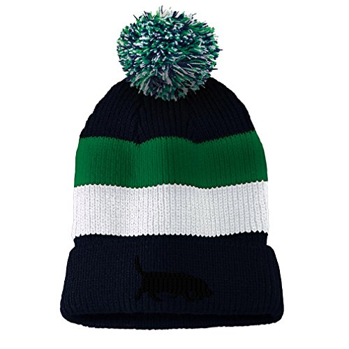 Basset Hound Dog Silhouette Embroidered Unisex Adult Acrylic Vintage Striped Removable Pom Pom Beanie - Navy/Green/White Stripes, One Size