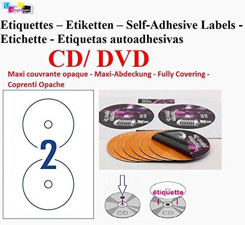 100 hoja 2 CD/DVD etiquetas adhesivas Opaque etiquetas ...