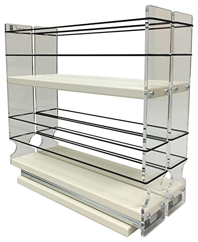 Maple Rack - Vertical Spice - 22x2x11 DC - Spice Rack - Narrow Space w/2 Drawers each with 2 Shelves - 20 Spice Capacity - Easy to Install