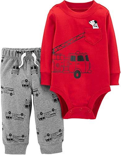 Newborn Baby Boys 2 Piece - Carter's Baby Boys Graphic Slogan 2-Piece Bodysuit & Pant Set (Newborn, Firetruck Puppy Red)