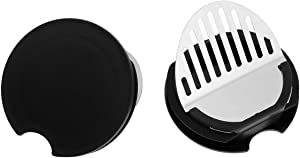 CHICTRY 2Pcs Glass Water Pitcher Lids Food Grade Plastic Anti-Dust Splash Resistant Stoppers Covers for Beverage Carafe Glass Pouring Pitcher Black One Size