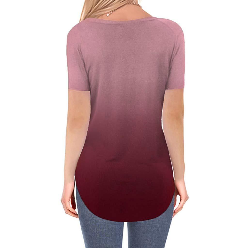 UFACE Damen T-Shirt mit Rundhals-Verlauf und /ärmelloser Bedruckung Tunika-Blusen-Tanks