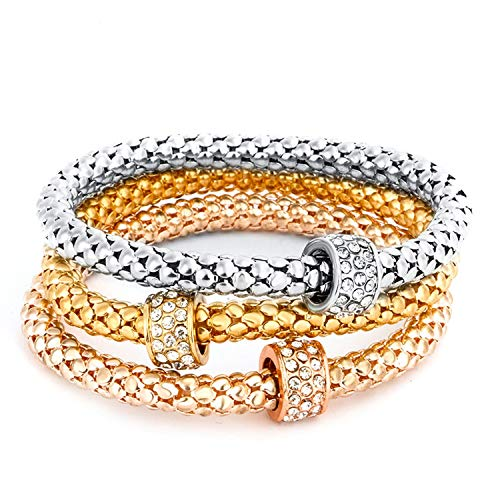 OASIS LAND Fashion Jewelry Retro Diamond Ring Ornaments Elastic Corn Chain Popcorn Bracelets Jewelry Ladies - Jubilee 20 Gold Crystal
