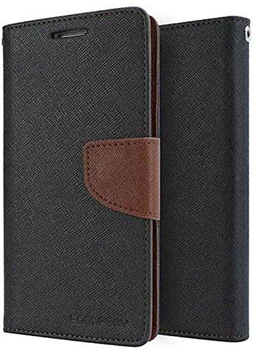 watch 124ef 5d24d FONENAME Samsung Galaxy J8 Infinity Flip Cover - Compact & Uber Stylish  Flip for This case [ Brown::Black]