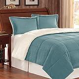 Premier Comforter Corduroy/Berber Comforter Mini Set, Full/Queen, Blue