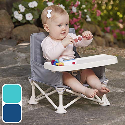 hiccapop Omniboost Travel Booster Seat with Tray for Baby | Folding Portable High Chair for Eating, Camping, Beach, Lawn, Grandma's | Tip-Free Design Straps to Kitchen Chairs - Go-Anywhere High (Best Booster High Chairs)