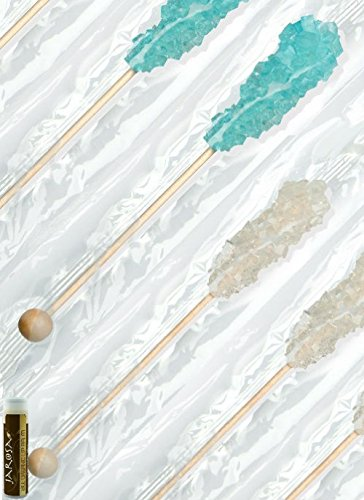 Dryden & Palmer Rock Candy Swizzle Sticks Set - 12 Light Blue Cotton Candy & 12 White Individually Wrapped (Boxed) With A Jarosa Bee Organic Chocolate Bliss Lip Balm
