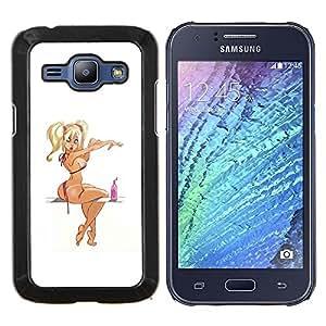 TECHCASE---Cubierta de la caja de protección para la piel dura ** Samsung Galaxy J1 J100 ** --pin up rubia dibujo niña mujer modelo