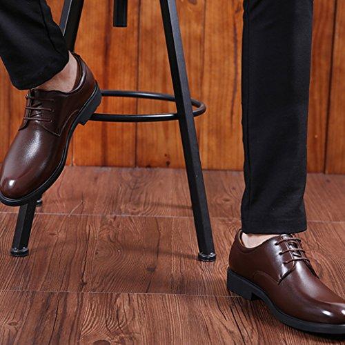 Eagsouni® Herren Schnürhalbschuhe Leder Freizeit und Business Schuhe Braun