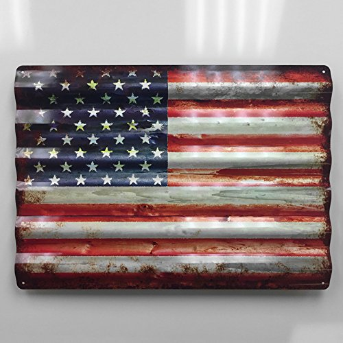 24 Inch Rustic American Flag Aluminum Corrugated Metal Tacker Sign