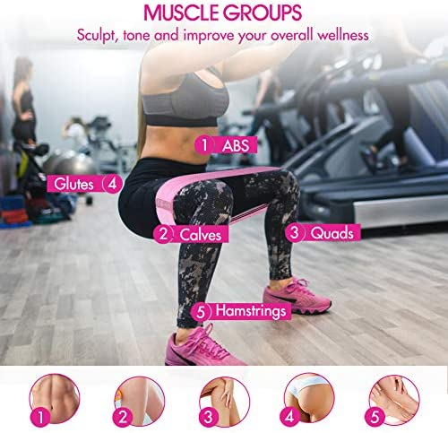 Te-Rich Resistance Bands for Legs and Butt, Fabric Workout Bands, Women/Men Stretch Exercise Loops, Thick Wide Non-Slip Gym Bootie Band 3 Set for Squat Glute Hip Training 6