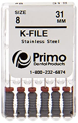 Primo Dental Products EFK3190140 K-File, 31 mm, #90/140, Assorted (Pack of 6) (Assorted Broaches)