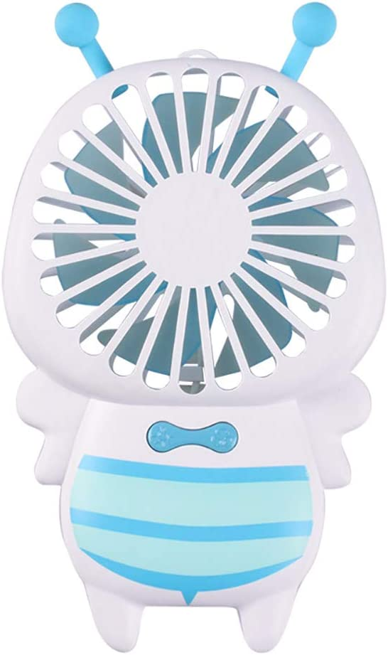 Blue Mini USB Cooling Fan LED Light Lovely Bee Shape Mini Handheld Air Cooling Fan USB Charging Summer Outdoor Cooler for Outdoor Traveling BBQ
