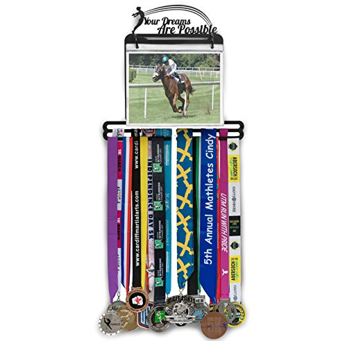 Your Dreams Are Possible Medal Hanger: Awards Wall Mount Display Holds 40 Plus Medals and 100 Runner Race Bibs, Includes 5 Vinyl Bib Flip Pouches - Hockey Plaque Award