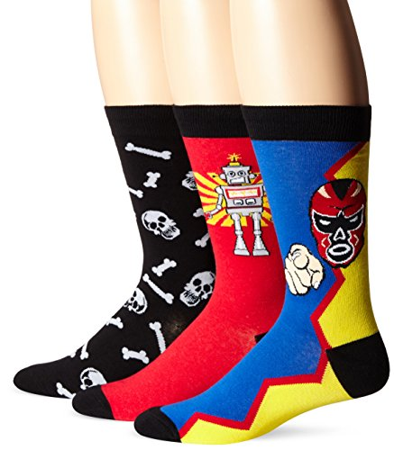 K. Bell Socks Men's 3 Pack Robot Crew Socks,Black/Yellow/Royal,Sock size:10-13/shoe size: 6.5-12
