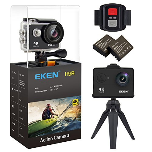 EKEN H9R Action Camera 4K Wifi Waterproof Sports Camera Full HD 4K 25fps 2.7K 30fps 1080P 60fps 720P 120fps Video Camera 12MP Photo and 170 Wide Angle Lens includes 11 Mountings Kit 2 Batteries Black