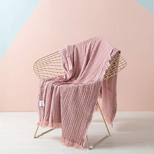 SIMPLEOPULENCE Cotton Throw Blanket Waffle Weave Cable Knit Woven with Tassels Solid Cozy Blanket Scarf Shawl Farmhouse Decoration (Coral Pink) (Waffle Knit Blanket)