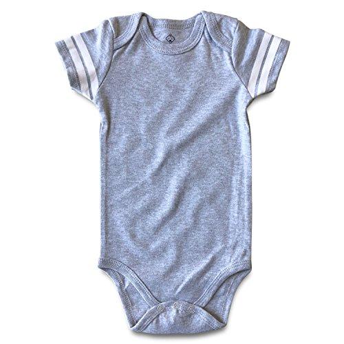 Onesie Jersey - ROMPERINBOX Blank Baby Football Jersey Short Sleeve Bodysuit (Solid Heather/White, 6-9 Months)