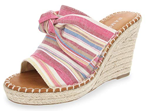 Rampage Women's Hannah Espadrille Wedge Slide Sandal with Knotty Bow Detail 8 Multi Beach ()