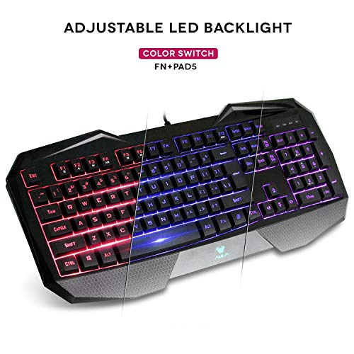 AULA SI-859 Backlit Gaming Keyboard with Adjustable Backlight Purple Red Blue USB Wired Illuminated Computer Keyboard by AULA