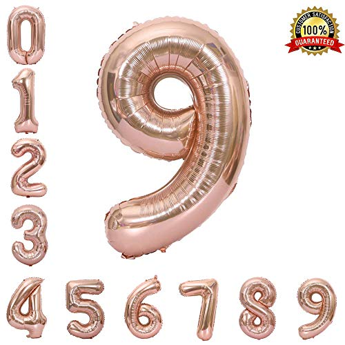 (Hotshots2019 40 Inch Rose Gold Jumbo Digital Number 9 Balloons Huge Giant Balloons Foil Mylar Balloons for Birthday Party,Wedding, Bridal Shower Engagement Photo Shoot, Anniversary)