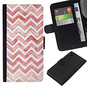 KingStore / Leather Etui en cuir / Sony Xperia Z2 D6502 / Aquarelle Blanc Rose Violet Plum