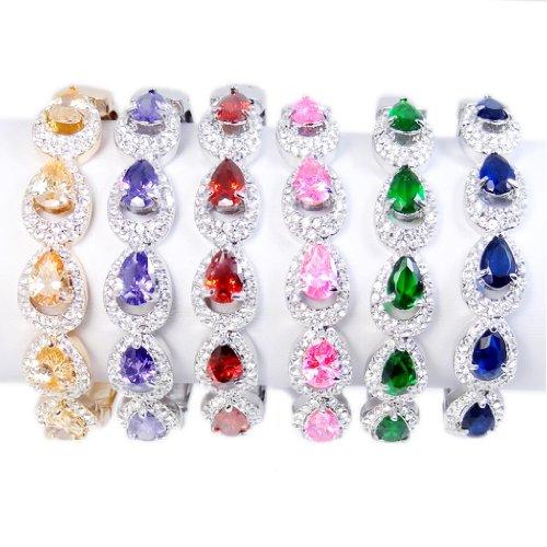 EVER FAITH® - Plaqué Or 5 Gouttes Cubic Zirconia Jaune Couleur Topaze Bracelet Cristal Autrichien Q00113-7