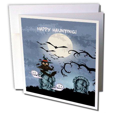 3dRose Spooky Graveyard Cemetery Scene, Happy haunting Greeting Cards, 6