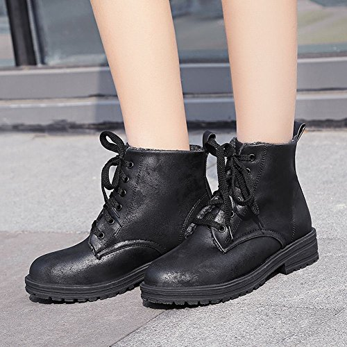 Charm Foot Womens Western Lace Up Low Heel Velvet Lining Ankle Boots Black wgiih