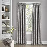 "Eclipse 15455052108SMK Mallory Blackout Floral Window Curtain Panel, 52"" x 108"", Smoke"