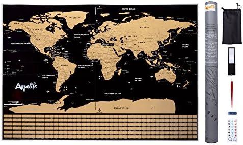 ARPELIFE Mapa Mundi para Rascar – Scratch World Map – Póster Grande (82,00 x 59,00 cm) del Mundo Ideal para Tus Viajes. Incluye Set con Pegatinas + Lupa + Herramientas de Rayado.: Amazon.es: Oficina y papelería