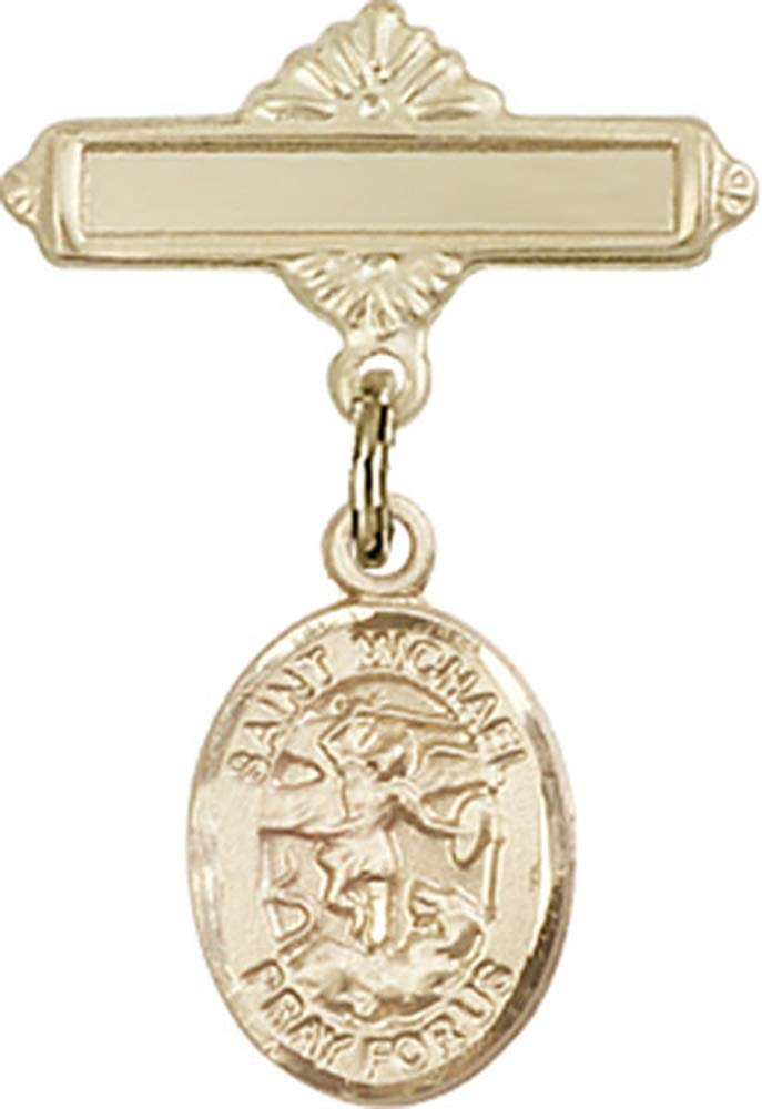 14kt Gold Filled Baby Badge with St. Michael the Archangel Charm and Polished Badge Pin St. Michael the Archangel is the Patron Saint of Police Officers/EMTs 1 X 5/8