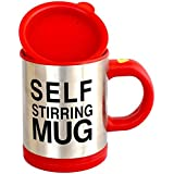ZURU BUNCH Battery Operated Automatic Self Stirring Mug for Auto Mixing Tea, Coffee, Hot Chocolate, Soup :- Available in Red Color