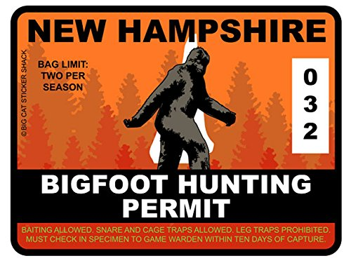 Bigfoot Hunting Permit - NEW HAMPSHIRE (Bumper Sticker)