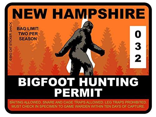 Bigfoot Hunting Permit - NEW HAMPSHIRE (Bumper Sticker)