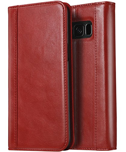 ProCase Galaxy S8 Genuine Leather Case, Vintage Wallet Folding Flip Case with Kickstand and Multiple Card Slots Magnetic Closure Protective Cover for Galaxy S8 -Red