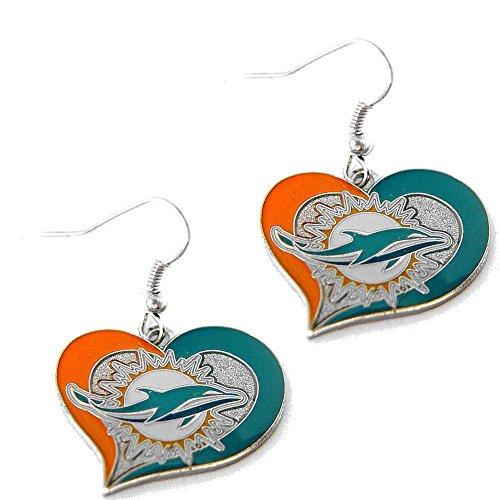 NFL Miami Dolphins Swirl Heart Earrings