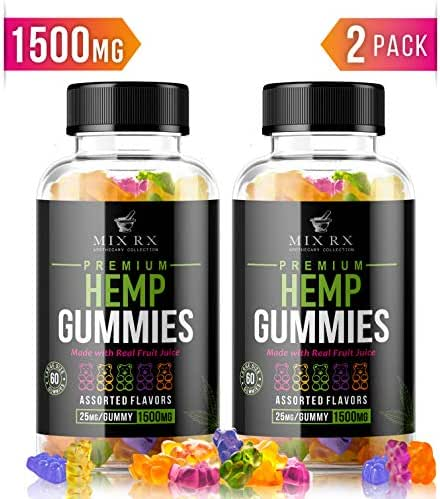 (120 Gummies | 1500mg) Hemp Gummies for Pain and Anxiety Restful Sleep, Natural Calm Hemp Oil Gummy Bears Vitamins Edibles Candy Supplements for Stress Relief - Giant Gummie Bears for Adults Kids
