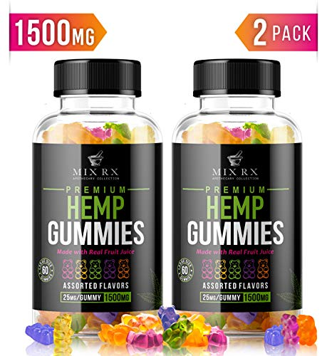 (120 Gummies | 1500mg) Hemp Gummies for Pain and Anxiety Restful Sleep, Natural Calm Hemp Oil Gummy Bears Vitamins Edibles Candy Supplements for Stress Relief - Giant Gummie Bears for Adults Kids from Mix Rx
