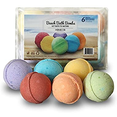 Bath Bombs Gift Set of 6, Beach Scents, Paraben Free, Phthalates Free, lush All Natural Essential Oils, Cocoa Butter, Coconut Oil, Fizzies, Melts, Bubble Bath- Birthday Essentials for Kids Teen Women