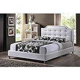"Baxton Studio Carlotta Modern Bed with Upholstered Headboard, White, 47.5"" x 63.58"" x 88.6"""