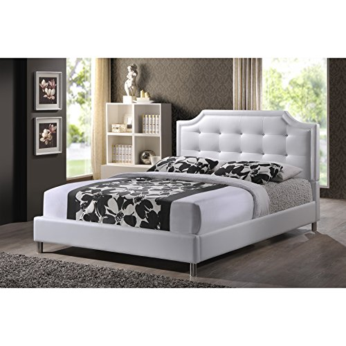 Bed Platform Queen White (Baxton Studio Carlotta Modern Bed with Upholstered Headboard, White, 47.5