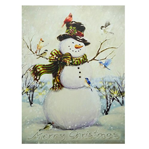 Northlight LED Lighted Vintage Inspired Snowman and Bird Friends Christmas Canvas Wall Art 15.75