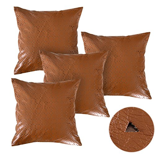 Deconovo Decorative Triangle Perforated Pattern Luxury Solid Faux Leather Pillows Cushion Covers for Bed 18X18 Inch Brown,4PCS