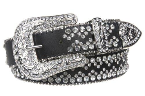 [Snap On Western Cowgirl Rhinestone Studded Metallic Leather Belt Size: S/M - 34 Color: Black] (Rhinestone Studded Belt)