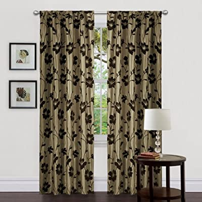 Lush Decor Triangle Home Fashions 18771 84-Inch Garden Blossom Curtain, Green/Brown, Panels - Includes: 2 panels, 2 tiebacks Panel: 40-inch w by 84-inch d Care; dry clean - living-room-soft-furnishings, living-room, draperies-curtains-shades - 51pPgAi oFL. SS400  -